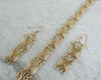 Hand Woven 14kt Gold Fill Wire Jewelry Set- Double Narrow Links Ojos Earrings and Bracelet Jewelry Set- gold