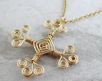 Hand Woven 14kt Wire Pendant- Filigree Cross Ojos Pendant