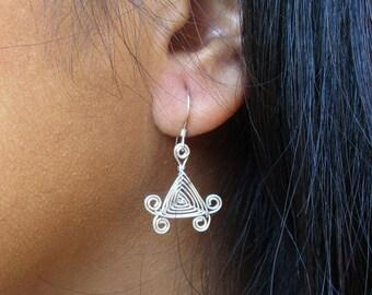 Hand Woven Sterling Silver Wire Earrings- Scroll Triangle Ojos Earrings