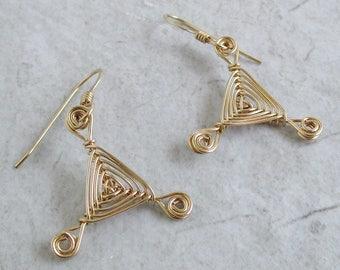 Hand Woven 14kt Wire Earrings- Mini-eyes Triangle Ojos Earrings