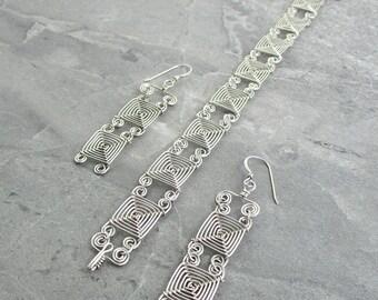 Hand Woven Sterling Silver Wire Jewelry Set- Double Narrow Links Ojos Earrings and Bracelet Jewelry Set- silver