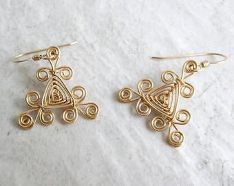Hand Woven 14kt Wire Earrings- Filigree Triangle Ojos Earrings