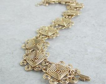 Hand Woven 14kt Gold Wire Bracelet- Scroll Ojos Bracelet