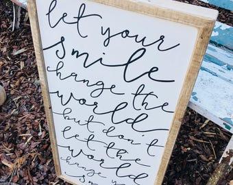let your smile wooden farmhouse framed sign positive words