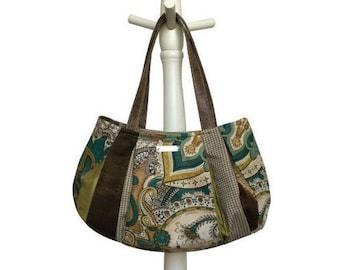 APPLE MARTINI Medium Hobo= autumn purse apple green taupe bronze cream houndstooth paisley vegan leather handmade purse