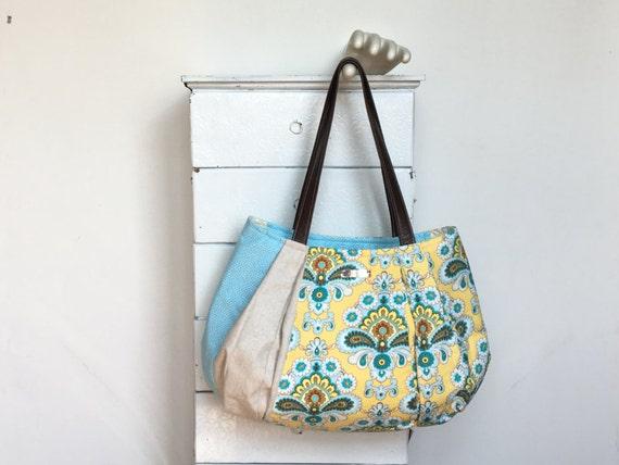 Yellow Hobo Yellow Purse Pale Blue Bag Yellow Diaper Bag   Etsy a264b66875