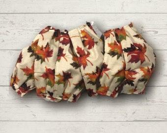 AUTUMN Theme: 3 Layer Fabric Face Mask, Fall leaves, gold glitter, rust, orange, red, mustard ladie's washable jennjohn jen john kids XL