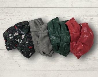SILVER CHRISTMAS: 3 Layer Fabric Adjustable Face Mask - red, green, black, metallic silver, tree, herringbone washable ladies mens jennjohn