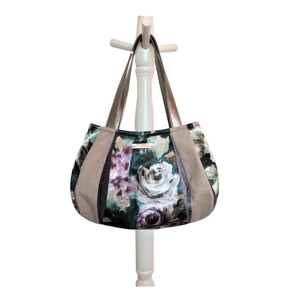 Hobo Purple Purse Flower Hobo Fabric Bag Winter Bag Winter   Etsy ef264f5f85