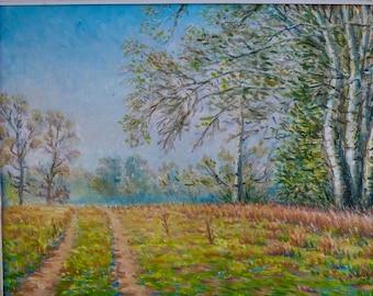 Original Oil Painting Landscape, road Landscape, tree painting, Hand painted Wall Art Landscape Aspens painting ukrainian landscape fine art