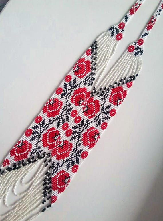 traditional Ukraine necklace Handmade Jewelry Ukrainian rose Gerdan Beaded Necklace long necklace Folk Ukrainian Ukrainian Jewelry