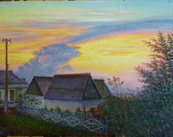 Village painting sunset, Oil Painting Landscape, original oil painting, Hand painted Wall Art Landscape painting ukrainian Country houses