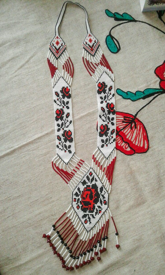 Beaded long necklace Creative Master Ukrainian rose Gerdan traditional folk Ukraine necklace Handmade Jewelry