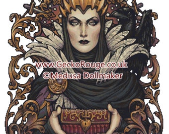 Villain Cross Stitch, 'Evil Queen' Medusa Dollmaker Art, Art Nouveau Witch, XStitch KIT, Fairy Tale Villain, Snow White, Witch Cross Stitch