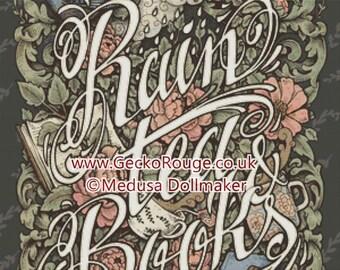 Rain, Tea and Books Cross Stitch, Medusa Dollmaker Art, Shabby Chic Art, Peonies Flowers, Vintage Book,  Cross Stitch, KIT,  Reading Fan