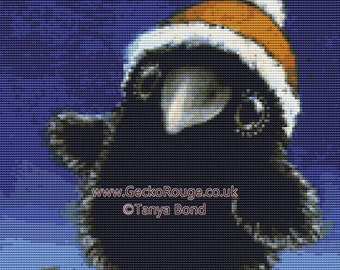 Raven Cross Stitch, Tanya Bond Art, Counted Cross Stitch, Cross Stitch Kit, Black Raven Art. Christmas Cross Stitch, Bird Needle Craft Set