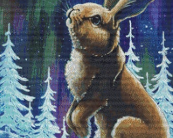 Rabbit Cross Stitch, A Place in the Sky, Lesley D McKenzie Art, Counted Cross Stitch,  Modern Cross Stitch, Cross Stitching Set, Bunny Art