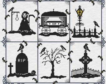 Gothic Cross Stitch, PDF Pattern, Counted Cross Stitch, Grim Reaper,  Death Cross Stitch, Grave Yard Art, Downloadable Pattern, RIP Chart