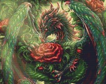 Cross Stitch - 'Rose Guardian' By SheBlackDragon - Dragon Cross Stitch Kit, Fantasy Needlecraft Art - Handmade Stitching Kit, Rose Stitching