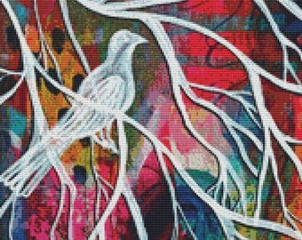 Bird Cross Stitch Kit, Pamela Varacek Art, It Will Come, Modern cross stitch, Whimsical Needlecraft Set, Counted Cross Stitch, Complete Kit