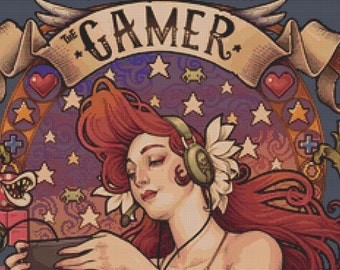 Extra Large - Cross stitch 'Gamer Nouveau' Medusa Dollmaker' - Modern Art Needlecraft Set with DMC Materials - Counted cross stitch, Gaming