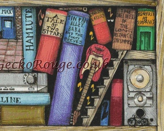 Modern Cross Stitch Kit, Reading Books, Book Art, Bookshelf. Colin Thompson, Musical Craft Project, Music Cross Stitch, Counted Needle Kit