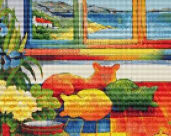 Cat Cross Stitch, Counted Cross Stitch Kit, Sleeping Cats, Jo-Anne Yelen - Needle Craft , Colorful Cats, Cross Stitch Pattern, Modern Art