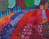 Flower Cross Stitch,  Modern Cross Stitch Art, Flower Fields', Heather Galler Art, Cross Stitch Kit, Colorful Art Needlecraft Set,  DIY Kit