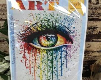 Modern Cross Stitch Kit By Carissa Rose - 'Eye Candy', Best Seller Kit, Colorful Eye Art, Eye Counted Cross Stitch Kit, 14 Count Kit (Right)