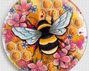 Bee Needle Minder, Licensed Art By Lorna Laine, Cross Stitch Keeper,  Bee Fridge Magnet, Bumblebee Pattern Holder, Bee Magnet Button