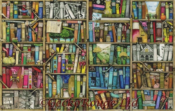 Modern Cross Stitch Kit EXTRA LARGE Advanced Bookshelf