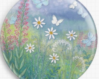Butterflies -  Needle Minder, Cross Stitch Accessory,  Licensed Art, Jo Grundy, CrossStitch Pin Keeper, Fridge Magnet