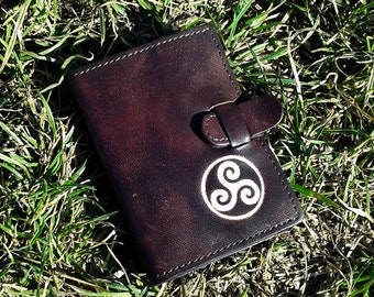 Celtic Triskel Symbol Handpainted Credit Card Wallet For 6 Credit Cards -  FREE Shippng Worldwide - Leather Credit Card Holder afd50307c6