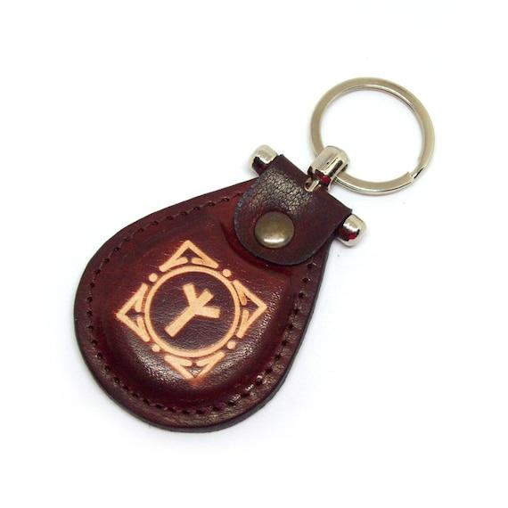 Viking Algiz Rune Leather Keychain Futhark Runes Amulet Leather Protection Opportunity Norse Talisman Accessories  - FREE Shipping Worldwide