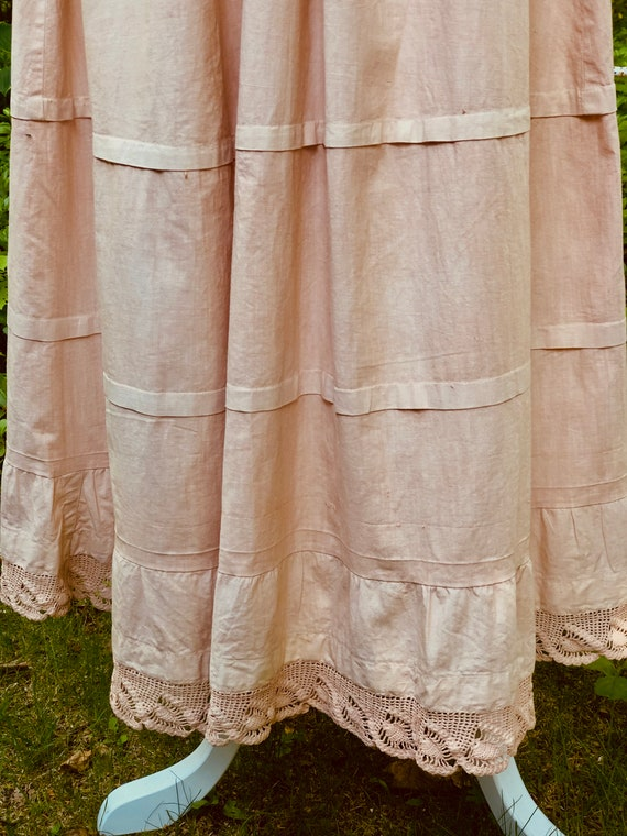 Vintage Petticoat Tucks Crocheted Lace Trim Hand D