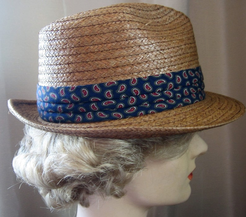 e47389a9fbfdd Vintage Dobbs Fedora Hat Genuine Coconut Straw Stingy Brim