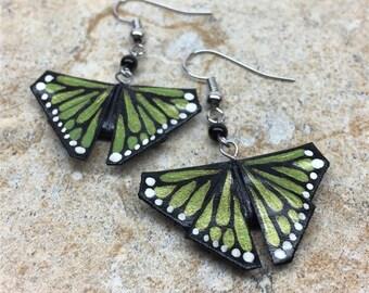 Green Monarch Butterfly Origami Earrings