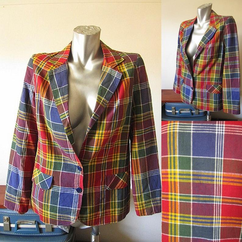 2be0e11fba083d Vintage 70s Bobbie Brooks Bright Plaid Cotton Blazer / Jacket | Etsy