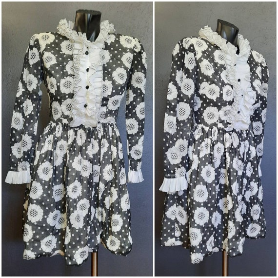 60's Black and White Monochromatic Floral Dress Si