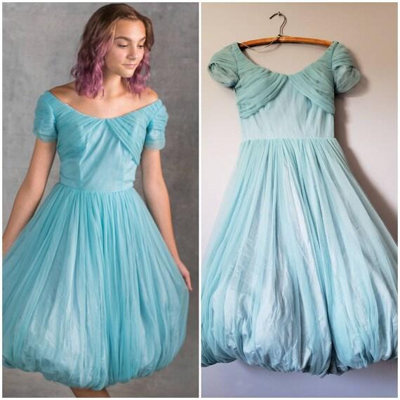 1950s Blue Balloon Skirt Dress Size Small