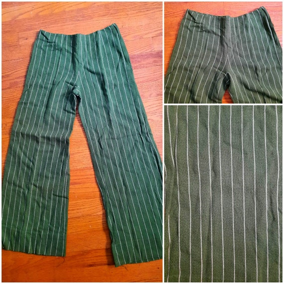 1960s Green Wool Striped Bell Bottom Pants