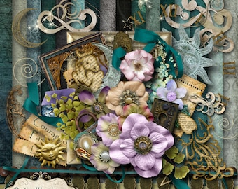 STARRY STARRY NIGHT - Digital Scrapbooking Kit - 16 Papers 6 Card Stock Papers and 50 Plus Elements -5.00