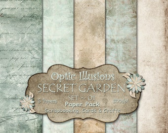 Secret Garden  - Set 01 -  Digital Scrapbooking Papers - - 12 x 12 inch Inches - INSTANT DOWNLOAD -