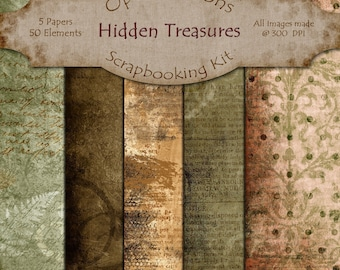 Digital Scrapbooking Papers - Hidden Treasures  - Paper Pack - 8.5 X 11 Inches - INSTANT DOWNLOAD -2.50