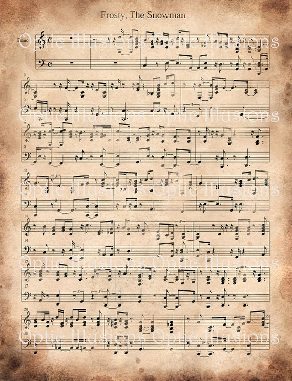 photo relating to Vintage Christmas Sheet Music Printable,frosty the Snowman named Common Xmas Carols - Structure A - Fastened of 2 - Frosty and Santa Claus is Coming in direction of City - Quick Down load -2.00
