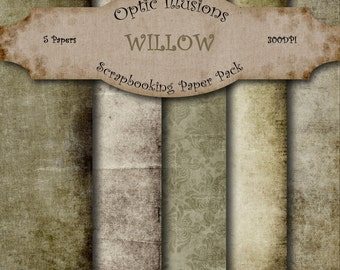 Willow - Digital Scrapbooking Papers - Paper Pack - 12 x 12 inch - INSTANT DOWNLOAD -2.50