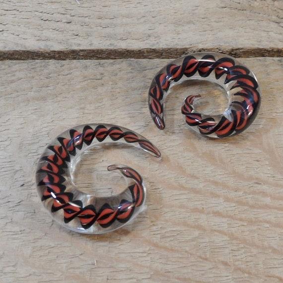 Glass gauges 0g red white black clear spiral 0 gauge glass
