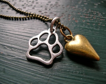 Must Love Dogs Paw and Heart Necklace Antiqued Silver Plate, Antiqued Brass, Faceted Bead Chain