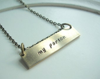 Valentine's Day My Person Hand Stamped Necklace