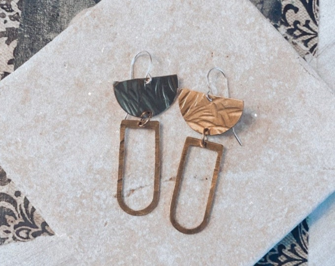 Brass Earrings, Geometric Earrings, Modern Earrings, Gold Earrings, Affordable Jewelry, Dangles, Minimalist Earrings, Textured Earrings